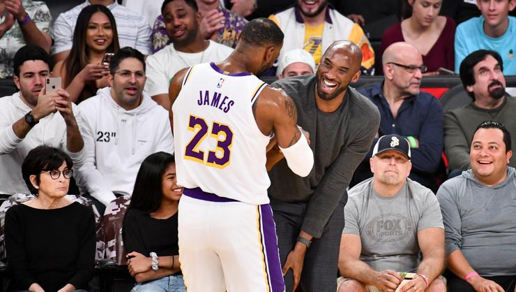 Kobe Bryant sharing from LeBron James after the championship